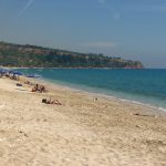 Lourdas - a quiet beach where one can swim and enjoy excellent views of mount Ainos.